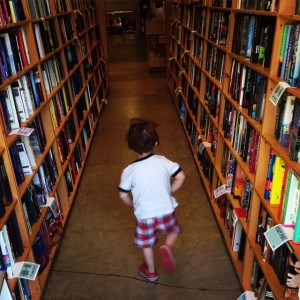 Running through the book stacks at Powells