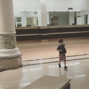 Matteo playing at the Oman border during last week's border run
